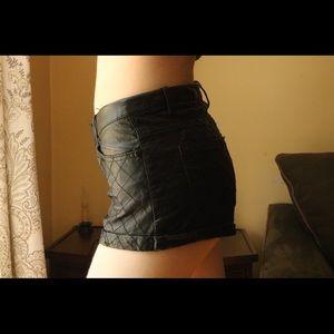 Forever 21 Black Pleather Print Soft Short Shorts
